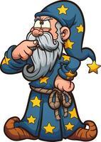 Thinking cartoon wizard vector