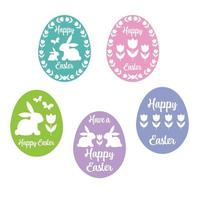 Happy Easter egg silhouettes with tulips and bunnies vector
