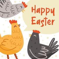 Ilustración de feliz pascua, banner, diseño de tarjetas de felicitación. letras, texto. gallina, pájaro, animal doméstico. granja, vida en el campo. vector
