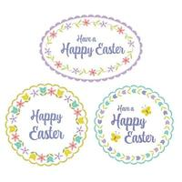 hand drawn pastel Happy Easter graphics with floral border patterns vector