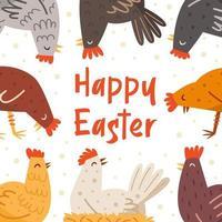 Happy Easter illustration, banner, greeting card design. Lettering, text. Hen, bird, domestic animal. Farm.