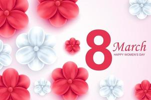Happy women's day greeting card. Beautiful red and white flowers on light background. vector