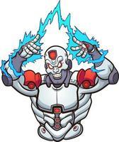 malvado cyborg de dibujos animados vector