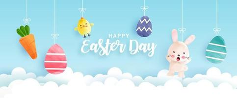 Easter day banner with cute chickens, rabbit and Easter eggs in water color style vector