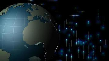 un globo terráqueo gira frente a la transmisión de datos en azul. bucle de video.