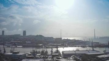 Vladivostok, Russia. Timelapse of The Russian Bridge