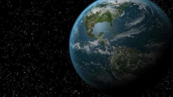 In space a glowing UFO flies towards Earth. video