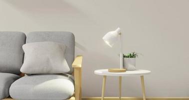 sala de estar moderna em estilo japonês com renderização em 3d
