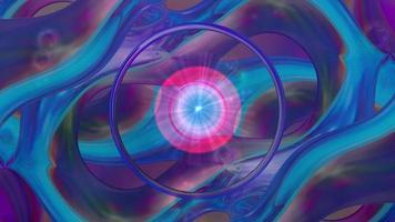 Fondo azul abstracto con formas de anillo en movimiento
