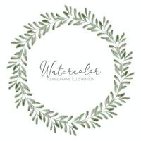 watercolor greenery foliage wreath circle frame vector