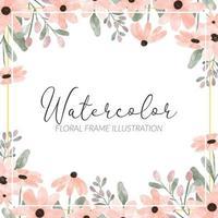 cute watercolor peach flower frame border vector