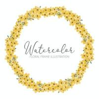 yellow flower watercolor wreath frame vector