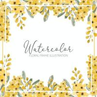 yellow wildflower watercolor flower frame border vector