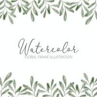 borde de marco cuadrado floral de hoja verde acuarela