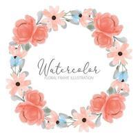 marco de guirnalda de acuarela de flor de peonía con ilustración de hoja