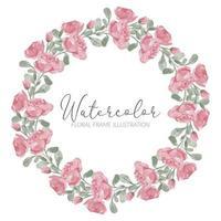lindo marco de corona de círculo de acuarela de flor rosa