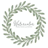 watercolor green leaf floral wreath frame vector