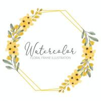 watercolor yellow floral rustic golden frame vector
