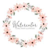 cute watercolor peach flower circle wreath frame vector