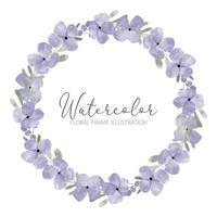 watercolor cute purple petal flower wreath illustration vector