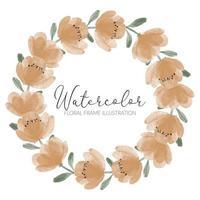 watercolor cute peony flower wreath illustration vector