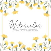 watercolor cute yellow wildflower square frame illustration
