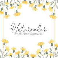 ilustración de marco cuadrado de flores silvestres amarillas lindas acuarela