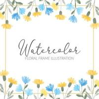 watercolor yellow blue wildflower floral square frame illustration
