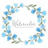 acuarela linda azul flores silvestres círculo floral corona
