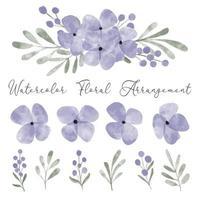 watercolor cute purple petal flower arrangement element vector