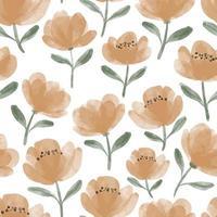 watercolor cute peony flower seamless pattern vector