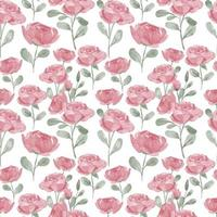 cute rose flower watercolor seamless pattern with leaf vector
