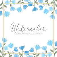 watercolor cute blue wildflower floral square frame illustration