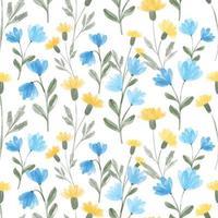 Acuarela de flores silvestres patrón transparente floral en color amarillo y azul