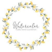 ilustración de corona de círculo de flores silvestres amarillas lindo acuarela