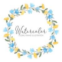 ilustración de marco de guirnalda floral de flores silvestres acuarela