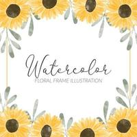 watercolor cute yellow sunflower frame illustration vector