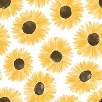 watercolor cute yellow sunflower seamless pattern vector