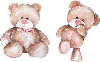 ejemplo dibujado mano del oso de peluche de la acuarela vector