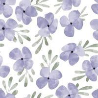watercolor cute purple petal flower seamless pattern vector