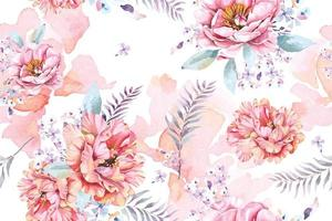 Peony seamless pattern with watercolor vector