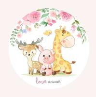 Cute Animal Friends and Colorful Flowers Illustration in Circle shape vector