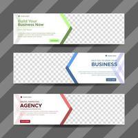 vector plantilla de web de banner de diseño abstracto. colección de banner publicitario de negocios horizontal. ilustración vectorial