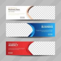 Set of three professional corporate business banners template with place for photo. Vector design EPS 10