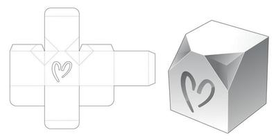 Chamfered corner box with heart shaped window die cut template vector