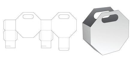 Plantilla troquelada de bolsa de embalaje octagonal