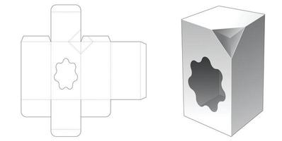 1 Chamfered corner tall box with freeform shaped window die cut template vector