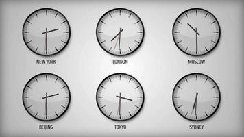 design klok met verschillende tijdzones