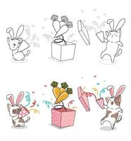 Bunny cats in the party cartoon coloring page vector