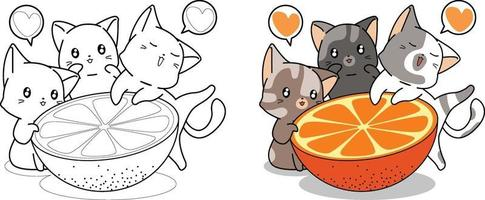 Cute cats and big orange cartoon coloring page vector